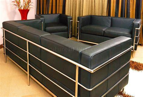 le corbusier style grande sofa loveseat chair set  black