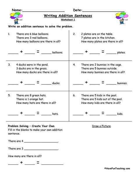 writing addition sentences worksheet    images