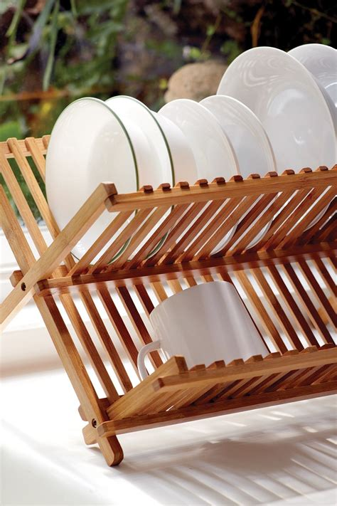 bamboo folding dish rack dish racks diy countertops kitchen decor