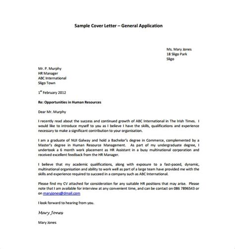general cover letter  student