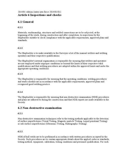 BV rules 2014   Nondestructive Testing   Welding