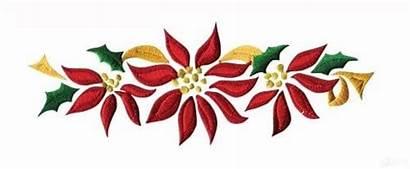 Poinsettia Border Christmas Clipart Embroidery Flower Designs