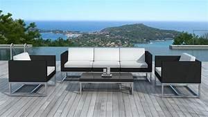 Salon De Jardin Acapulco : salon de jardin au design contemporain acapulco en r sine tress e noire ~ Teatrodelosmanantiales.com Idées de Décoration