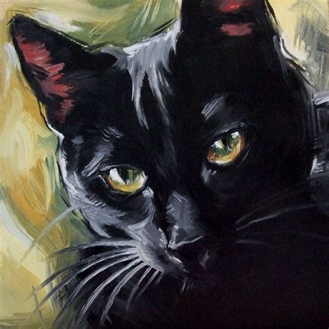 Abstract Black Cat Painting by Paintings From The The Witch S Cat Original