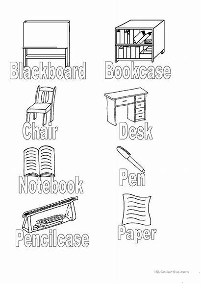 Classroom Objects Colouring Worksheets Esl Worksheet Tracing