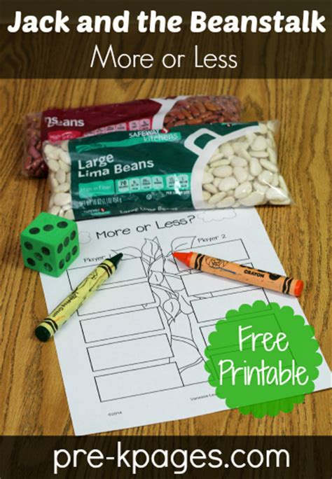 more or less and the beanstalk activity 231 | comparing numbers printable
