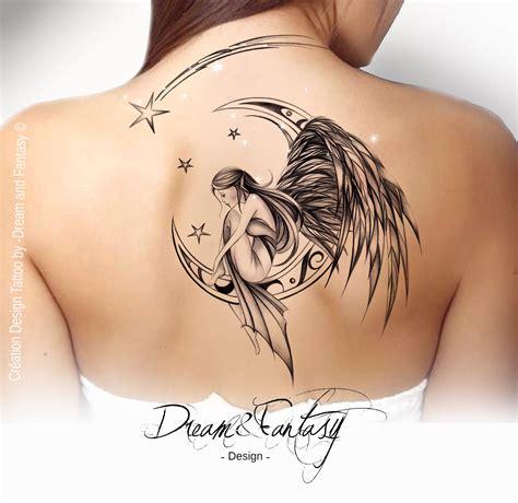 Design Tattoo  Fée  Ange  Féerie  Lune  Design Tattoo