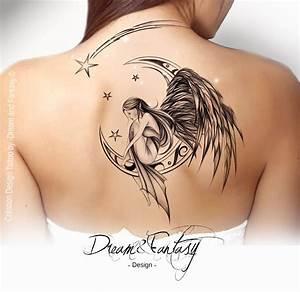 Lune Dessin Tatouage : design tattoo f e ange f erie lune tattoos tattoos tattoo designs angel tattoo designs ~ Melissatoandfro.com Idées de Décoration