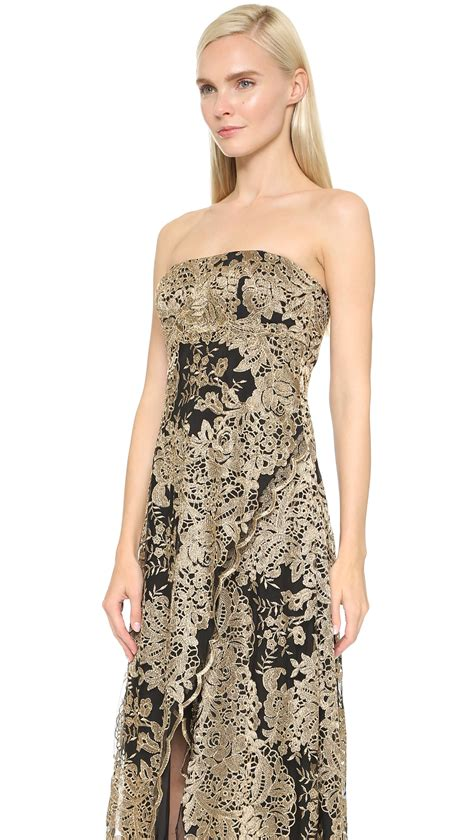 notte by marchesa strapless gown black gold in black lyst