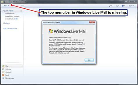 windows top bar missing windows live mail toolbar missing