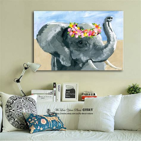 elephant home decor elephant stretched canvas print framed wall home