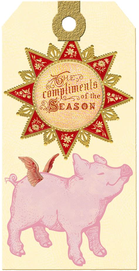 merry pig gift tags  printable wings  whimsy
