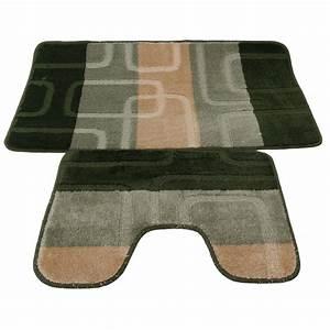 ensemble tapis de bain et contour de wc 5 couleurs With ensemble tapis salle de bain et wc