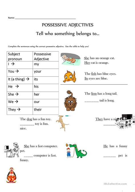 possessive adjectives made easy with pictures too worksheet free esl printable worksheets