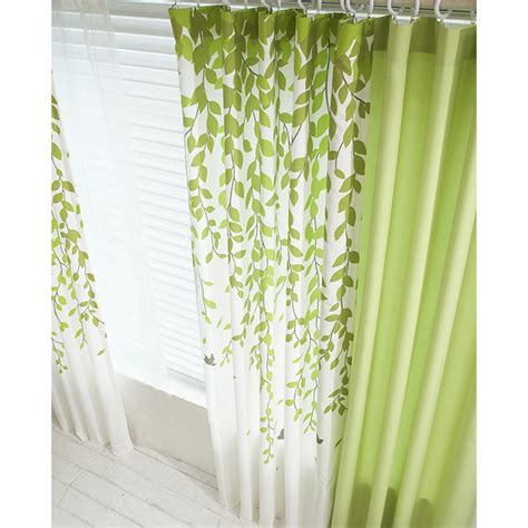 shower curtain green lime green and white leaf print poly cotton blend country
