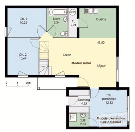 plan de maison plain pied 4 chambres gratuit maison modulable dé du plan de maison modulable