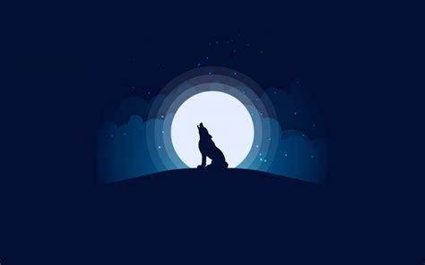 wallpaper wolf moon silhouette illustration hd