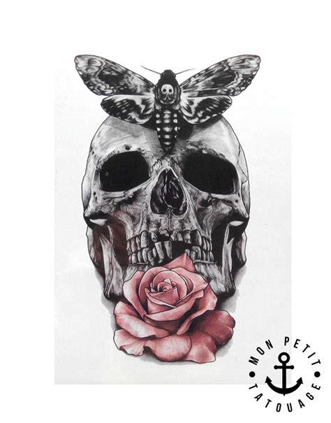 Tatouage Temporaire Tête De Mort Rose Et Papillon Mon