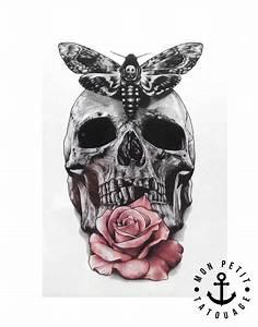 Tete De Mort Fleur : tatouage temporaire t te de mort rose et papillon mon petit tatouage temporaire ~ Mglfilm.com Idées de Décoration