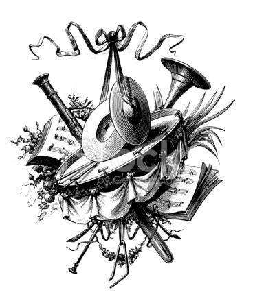 Music Vignette  Antique Design Illustrations Stock Vector