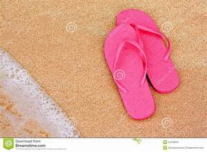 Summer Vacation Background Flip Flops On Beach Royalty ...