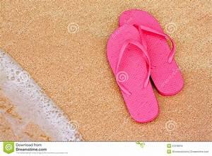 Summer Vacation Background Flip Flops On Beach Royalty ...