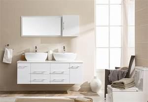 Meuble De Salle De Bain Blanc : meuble de salle de bain blanc double vasque placards ~ Melissatoandfro.com Idées de Décoration