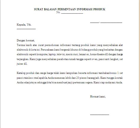 Contoh Surat Resmi Mengenai Permintaan by Surat Balasan Permintaan Informasi Produk
