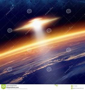 Ufo, Approaches, Planet, Earth, Stock, Illustration