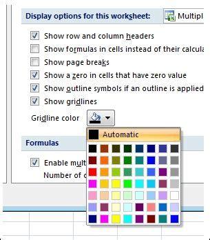change  color  gridlines   worksheet  images