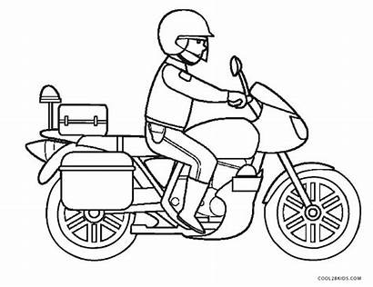 Coloring Motorcycle Pages Police Drawing Wheeler Printable