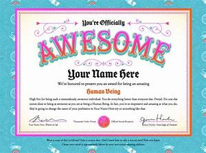 you39re officially awesome certificate free printables With certificate of awesomeness template