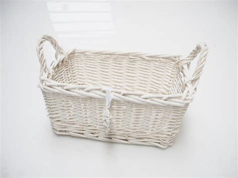 shabby chic storage baskets rectangle white french shabby chic wicker kitchen crafts bathroom storage basket ebay