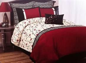 oriental asian cherry blossom sakura red black 7pc queen or king comforter set ebay