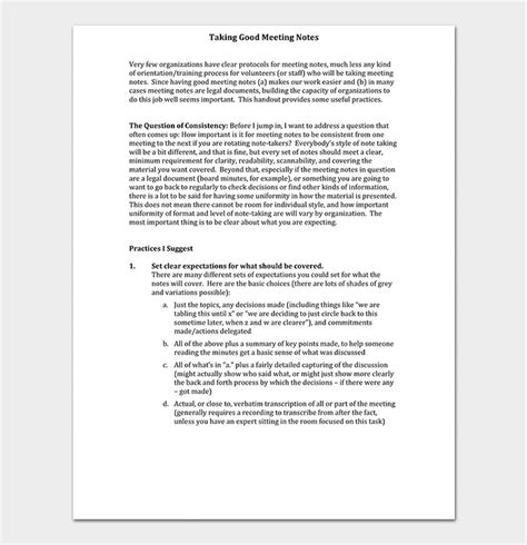 meeting notes template   samples examples word
