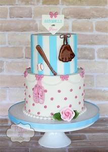 Baseballs Or Bows - Gender Reveal Cake - CakeCentral com