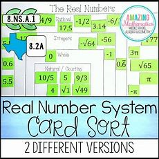 Real Numbers System Card Sort (rational, Irrational, Integers, Whole, & Natural