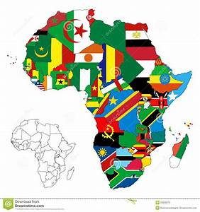 Africa Continent Flag Map stock vector. Illustration of ...