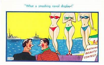 Postcard Comic Seaside Button Bathing Contest Tummy