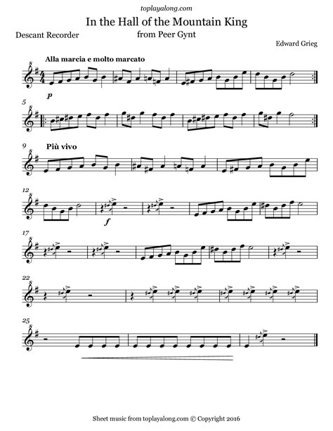 Find your perfect arrangement and access a variety of transpositions so you can print and play instantly, anywhere. In the Hall of the Mountain King - toplayalong.com