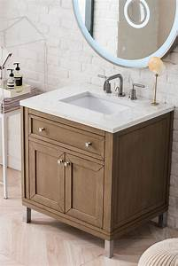 Chicago, 30, U0026quot, White, Washed, Walnut, Single, Vanity, With, Top, Options