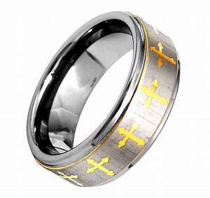 8mm christian cross etch brushed step edge tungsten men39s With christian wedding rings for men