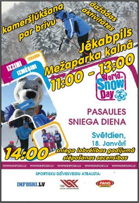 Pasaules sniega diena norisināsies arī Jēkabpils Mežaparkā