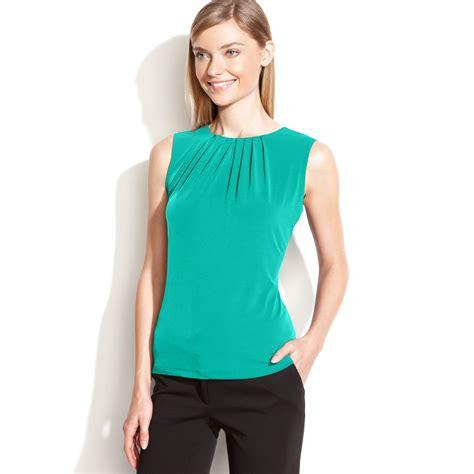 klein blouses calvin klein sleeveless pleated neck blouse in green lyst