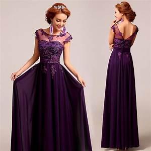 deep plum purple chiffon lace floor length a line evening With plum dress for wedding