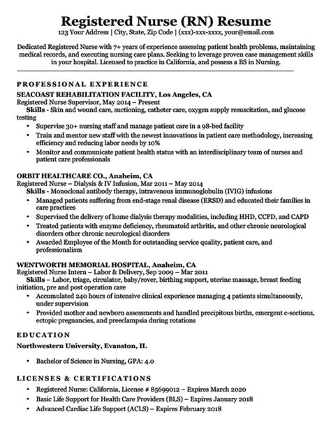 Nursing Resume by Registered Rn Resume Sle Tips Resume Companion