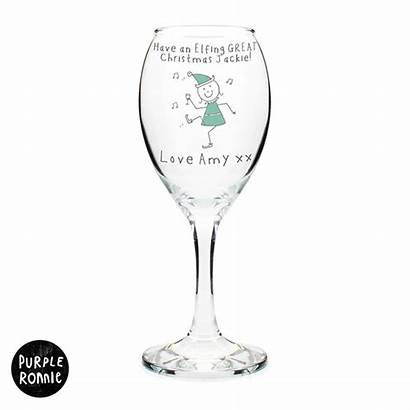 Christmas Personalised Purple Ronnie Elf Wine Glass