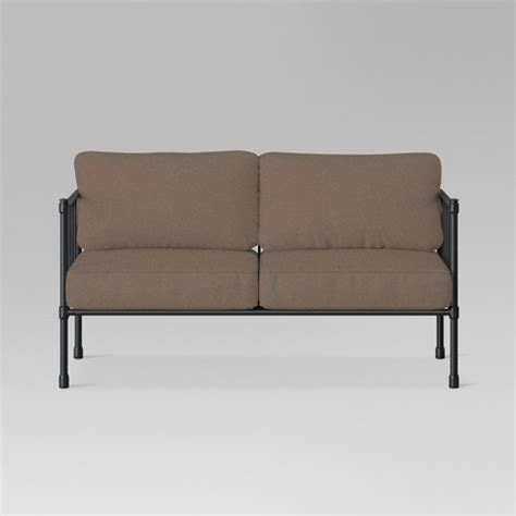 Metal Outdoor Loveseat by Fernhill Metal Patio Loveseat Taupe Threshold Target