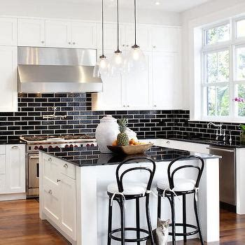 black subway tile kitchen backsplash white kitchen cabinets with black brick tile backsplash 7907