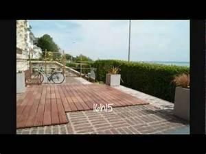 construction terrasse en bois exotique dalles clipsables With dalle bois terrasse 100x100